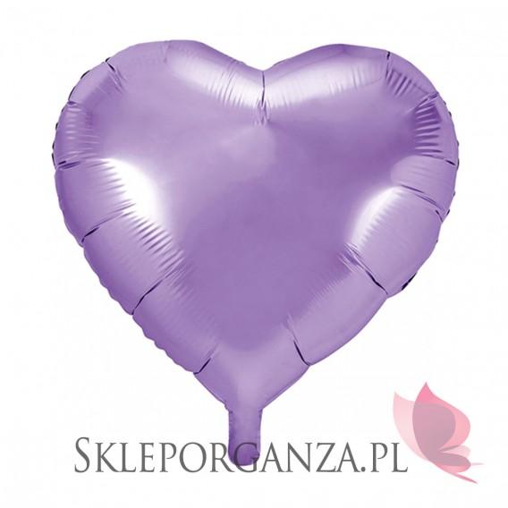 Balony foliowe Balon foliowy SERCE jasnoliliowe 45cm