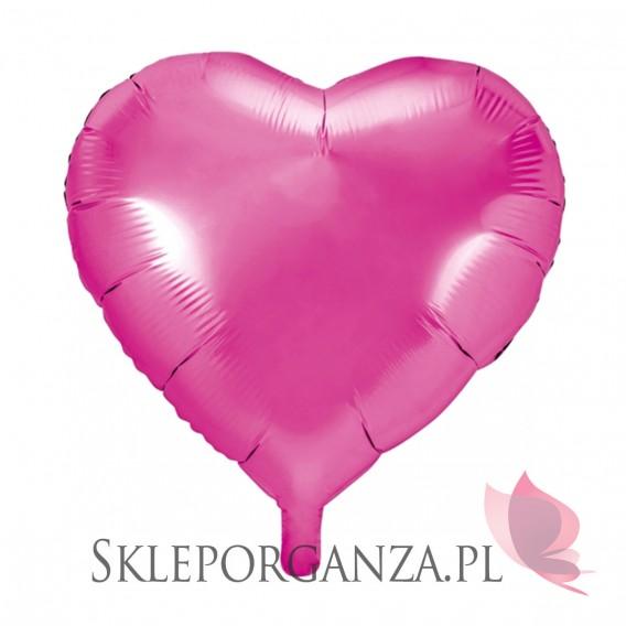 Balony foliowe na wesele Balon foliowy SERCE ciemnoróżowe 45cm