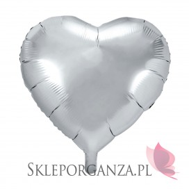 Balony foliowe na wesele Balon foliowy SERCE srebrne 45cm