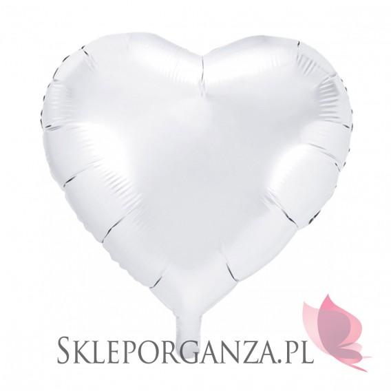 Balony foliowe Balon foliowy SERCE białe 45cm
