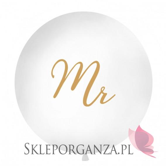 Balony olbrzymy na wesele Balon olbrzym biały Mr złoty