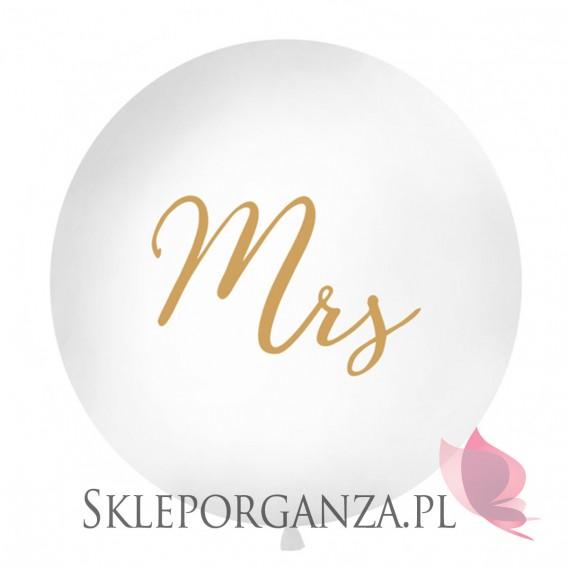 Balony olbrzymy na wesele Balon olbrzym biały Mrs złoty