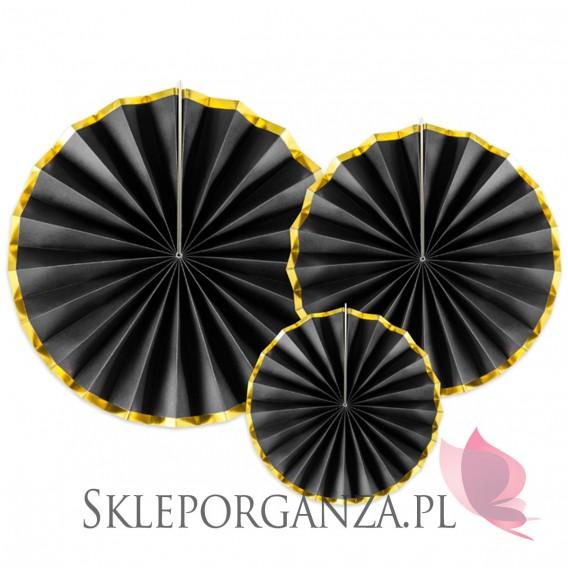 Rozety inne na wesele Rozety dekoracyjne czarno – złote, 3szt.