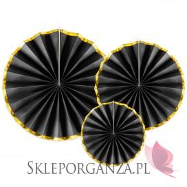 Rozety dekoracyjne czarno – złote, 3szt.