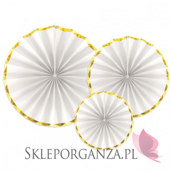 Dekoracje wiszące Rozety dekoracyjne biało-złote, 3szt.