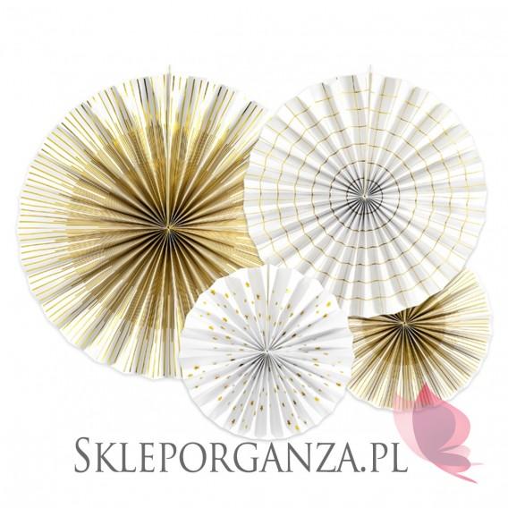 Dekoracje wiszące Rozety dekoracyjne biało-złote, 4szt.