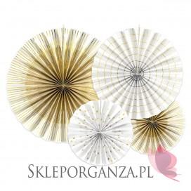 Rozety dekoracyjne biało-złote, 4szt.