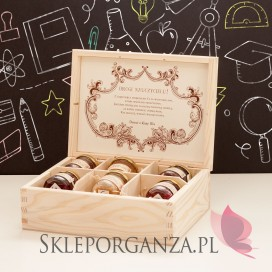 Personalizowany zestaw miodów w szkatułce - średni - Dzień Nauczyciela