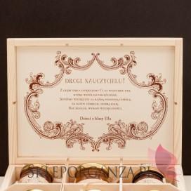 Zestawy prezentowe z miodami dla Nauczycieli Zestaw miodów w szkatułce - średni - personalizacja Dzień Nauczyciela