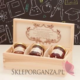 Zestaw miodów w szkatułce - mały - personalizacja Dzień Nauczyciela