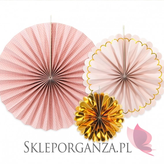 Dekoracje wiszące Rozety dekoracyjne różowo-złote, 3szt.