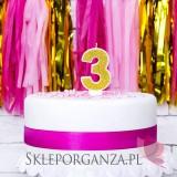 Fontanny i świeczki Świeczka urodzinowa Cyferka 3, złota
