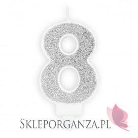 Świeczka urodzinowa Cyferka 8, srebrna