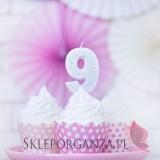 Świeczki, Fontanny, Topery Świeczka urodzinowa Cyferka 9, srebrna