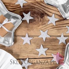 Dekoracje brokatowe Gwiazdka, srebrne