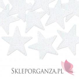 Kolekcja Święta Skandynawskie Dekoracje brokatowe Gwiazdka, białe