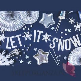Dekoracje papierowe Baner Let it snow, biały