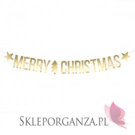 Dekoracje papierowe Baner Merry Christmas, złoty