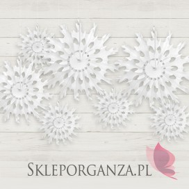 Rozety śnieżynki na wesele - Rozeta bibułowa - Śnieżynka biała, 37 cm.