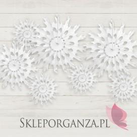 Rozety śnieżynki na wesele - Rozeta bibułowa - Śnieżynka biała, 45 cm.