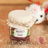 Świąteczny miód z jagodami - personalizacja z dekoracją wieczka