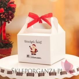 Opakowania do upominków świątecznych Pudełko białe średnie z rączką - PERSONALIZACJA ŚWIĄTECZNA
