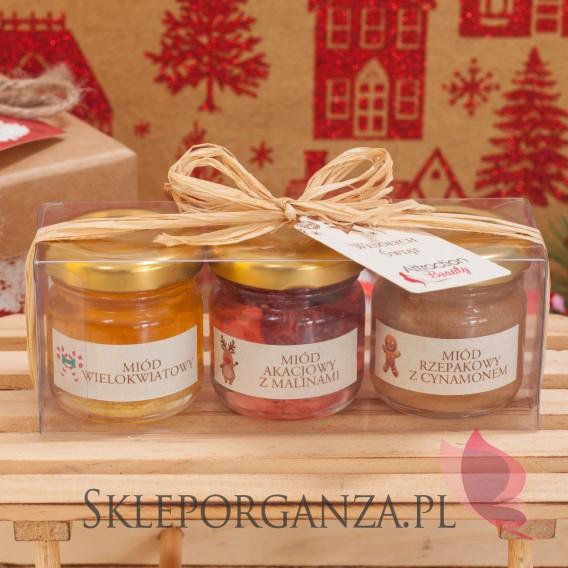 Upominki Świąteczny zestaw upominkowy miód - rafia