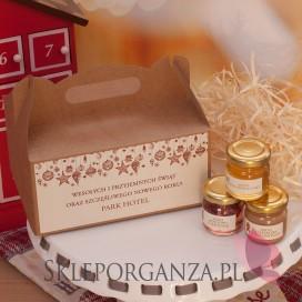 Świąteczny zestaw upominkowy miód - pudełko EKO - personalizacja