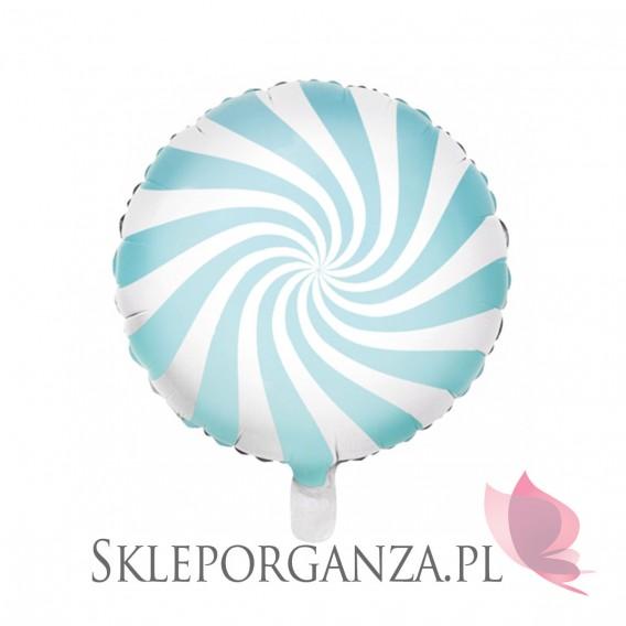 Niebieski Balon foliowy Cukierek, 45cm, jasnoniebieski