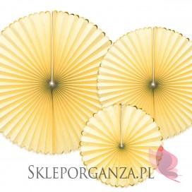 Rozety dekoracyjne jasnożółte ze złotymi brzegami