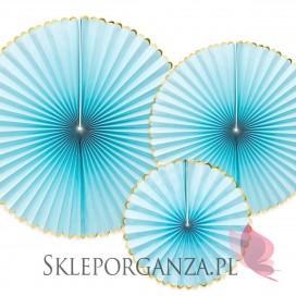 Rozety dekoracyjne jasnoniebieskie ze złotymi brzegami