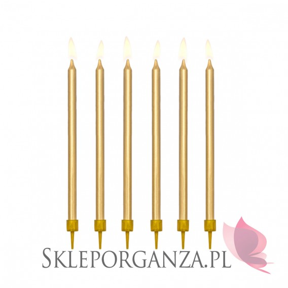 Złoty Świeczki metaliczne złote WYSOKIE 12szt