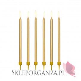 Świeczki metaliczne złote WYSOKIE 12szt