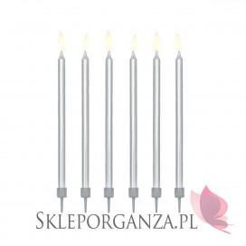 Fontanny i świeczki Świeczki metaliczne srebrne WYSOKIE 12szt