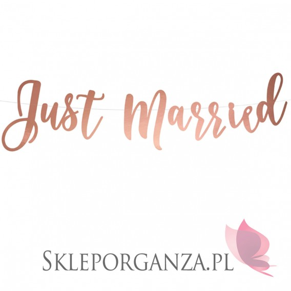 Rose Gold Baner Just Married, w kolorze różowego złota