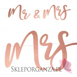 Rose Gold Baner Mr & Mrs, różowe złoto