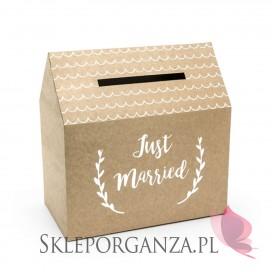 Brązowy Pudełko na koperty - Just Married, kraft