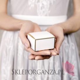Pudełka Pudełeczka, białe ze złotymi brzegami, 10szt.