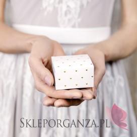 Pudełka Pudełeczka białe, Serca złote, 10szt.