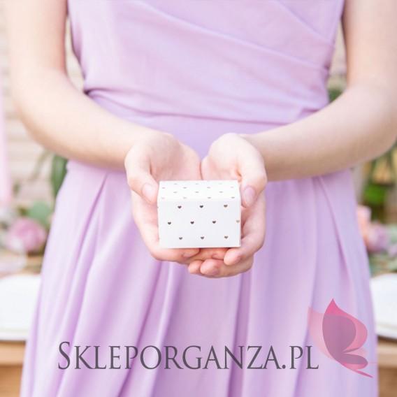 Pudełka Pudełeczka białe, Serca różowe złoto, 10szt.