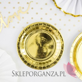 Talerzyki okrągłe złote, 18cm, 6szt.