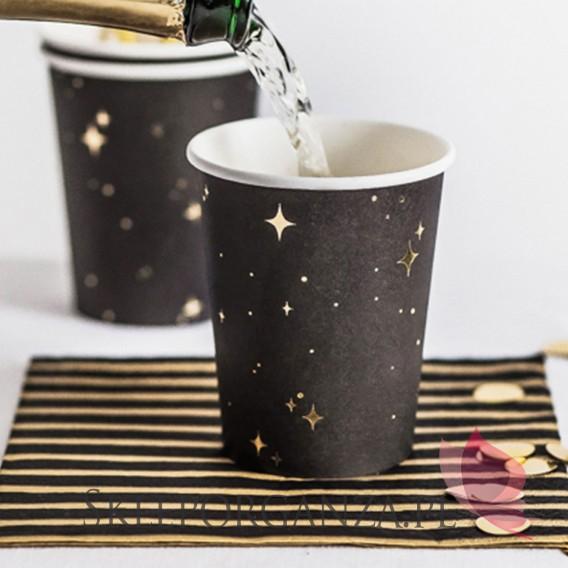 Czarny Kubeczki - czarne w złote gwiazdki, 260 ml, 6szt.