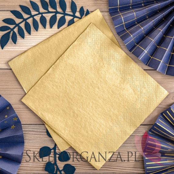 Złoty Serwetki trójwarstwowe, złote metalizowane, 40x40cm