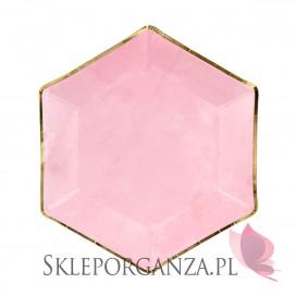Różowy Talerzyki różowe sześciokątne (złote brzegi), 6szt.