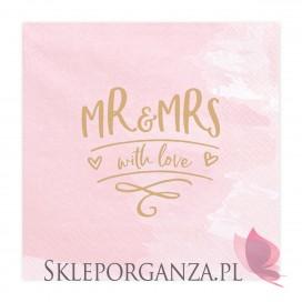 Różowy Serwetki Mr & Mrs