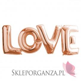Rose Gold Balony LOVE różowe złoto MEGA