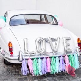 Zestawy do dekoracji auta Zestaw dekoracji samochodowych - Love srebrny