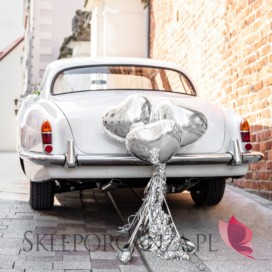 Zestawy do dekoracji auta Zestaw dekoracji samochodowych - Serce srebrne
