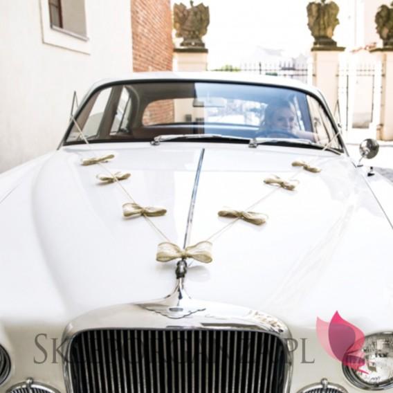 56bd7520eaf73e Zestawy do dekoracji auta Zestaw dekoracji samochodowych - Jutowe kokardki
