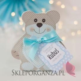 Upominki dla gości na Baby Shower personalizowane Pudełko MIŚ niebieski - personalizacja KOLEKCJA KROPECZKI/MIŚ